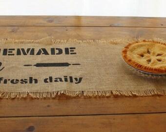 Farmhouse Burlap Table Runner - Flour Sack Design