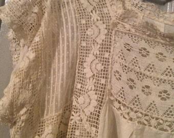 Reserved/Cotton voile lace antique-blouse plus sz needs TLC sh/slv ivory