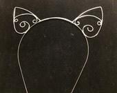 Wire wrapped cat ear headband