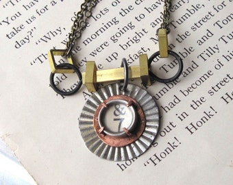Lucky Seven  Vintage Typewriter Key Necklace, Mixed Metals, Steampunk, Tin, Brass, Steel, Copper