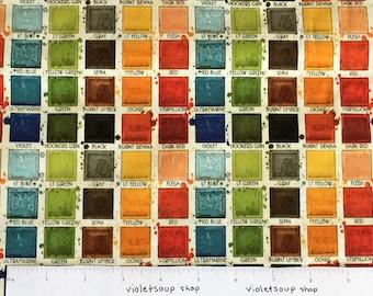 watercolor paint palette fabric paintbox cotton artist colors draw near handmaids frisch by half yard