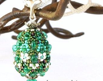 Sale reduced 30% - Beaded Egg Pendant by Sharri Moroshok - aqua  green and silver