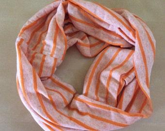 Jersey knit scarf - heathered orange and orange stripes