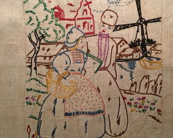 Vintage Embroidered Picture, Dutch Embroidery Sampler