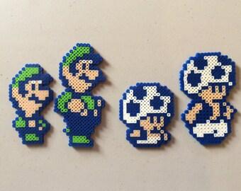 4 Pixel/bead sprite Figures Inspired by Super Mario Bros. 2: Luigi and Toad