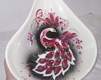 Sascha Brastoff Mid Century Modern California Art Pottery Rare Pink Peacock
