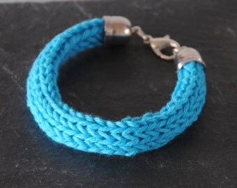 Blue Knitted Bracelet - Chunky Cotton Bangle Silver Plated Colourful Jewellery Gift for Her by Emma Dickie Design