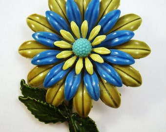 Blue green enamel flower brooch