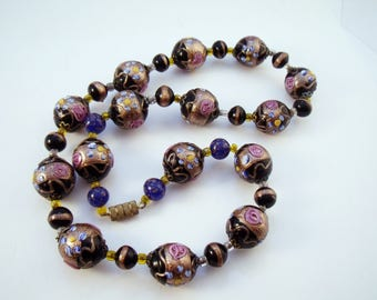 Black lampworked glass wedding cake or fiore beads with gold and pink accents