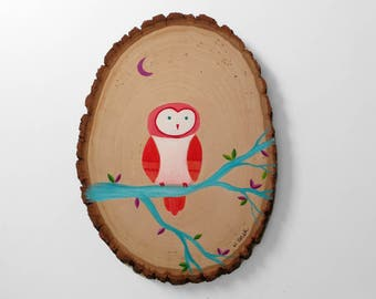 Original Owl Painting on Wood - Coral and Teal