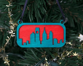 Philadelphia Skyline Ornament (Blue & Red Laser Cut Wood) Holiday Home Decor / Christmas Tree Gift