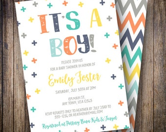 It's a Boy Baby Shower Invitation, Swiss Cross Baby Shower Invite, Geometric Baby Shower Invite - Swiss Cross in Yellow, Orange, Navy, Teal