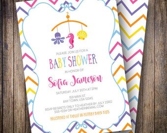 Ocean Baby Shower Invitation, Sea Life Mobile Baby Shower Invite, Printable Mobile Baby Shower Invitation in Orange, Purple, Pink, Blue