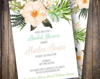 Boho Watercolor Bridal Shower Invite, Succulent Bridal Shower Invitation, Watercolor Bridal Shower Template in Blush, Teal, Green