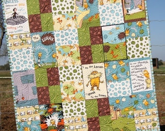 Organic Baby Quilt Lorax Earth Tones Dr Seuss Whimsy Boy or Girl Gender Neutral Blanket Crib Bedding Nursery Brown Green