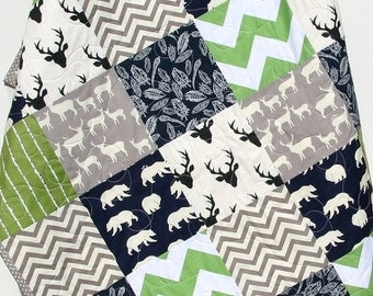 Baby Quilt, Boy, Deer, Southwest, Stag, Woodland, Birch Forest, Navy Blue, Green, Modern, Crib Bedding, Baby, Toddler, Bed Quilt, Rustic
