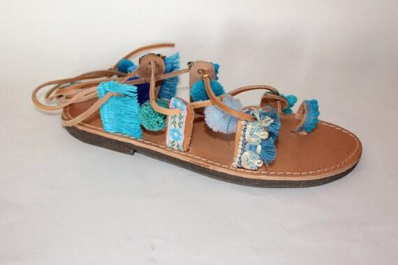 Boho gladiators, pompom sandals SALE SIZE 38 Greek sandals