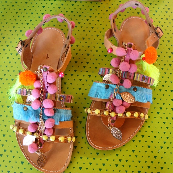 Greek Sandals, Boho Gladiator Sandals, Pom Pom Sandals sandales grecques
