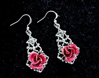 Vintage Enamel Rose Earrings, Reclaimed Assemblage, Silver Pierced Filigree Hook, Red Rose, Enamel Flower Jennifer Jones, OOAK - Lady Rose