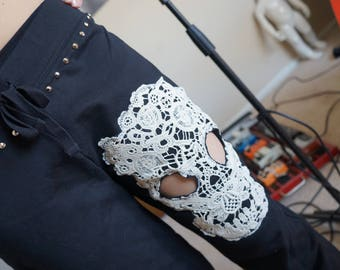 Olivia Paige - Lace Sugar skull studded pants punk rock with pyramids