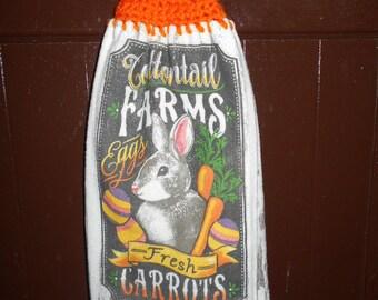 Hand crochet Easter kitchen towel.
