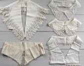 Antique and Vintage Lace Collars Lot - c. 1920s-50s Salvaged Dress Collars, 5 Pieces