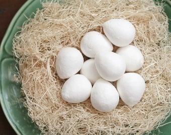 BULK Spun Cotton Eggs, 36mm - Vintage-Style Craft Shapes, 50 Pcs.