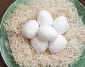 BULK Spun Cotton Eggs, 45mm - Vintage-Style Craft Shapes, 50 Pcs.