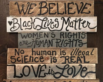kindness is everything love is love wood sign custom order 7 boards mixed shiplap quick turnaround shipped for you to assemble