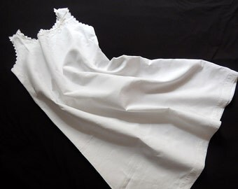 French Vintage Chemise Nightgown Fine Linen with Lovely Detailing and Embroidery