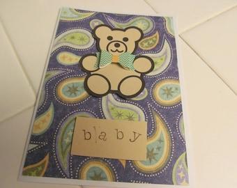 Blue Paisley Bear Baby Card
