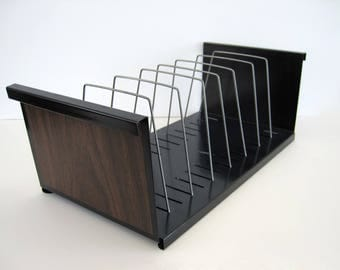 Vintage Metal File Holder Faux Wood Grain Ends Vertical Adjustable Paper Magazine Black Office Organizer 8 Slots