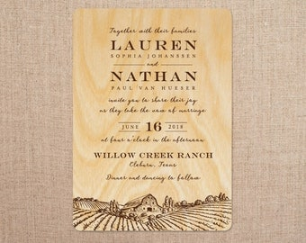 real wood wedding invitations barn ranch - Wood Wedding Invitations