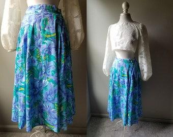 Vintage Tropical Midi Skirt Chartreuse Blue Green Skirt Elastic Waist Summer Skirt Vacation Medium Skirt with Pockets Tropical Print M