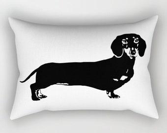 Dachshund Pillow, Dachshund Gifts, Monochrome Nursery Decor, Black White Kids Room Decor, Doxie Pillow, Custom Rectangular Pillow