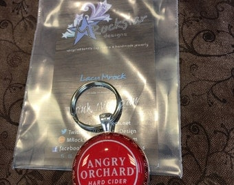 Angry orchard upcycled keychain