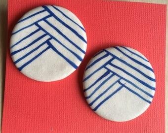 Large blue white porcelain earrings post sterling silver