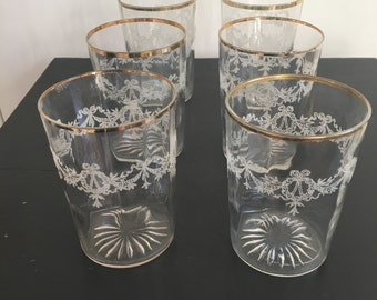 Vintage Glassware Gold Rim Swag and Laurel Wreath Design Set of 6
