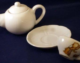 Vintage Miniature Teapot, Cup & Saucer (4 pieces), 1970s