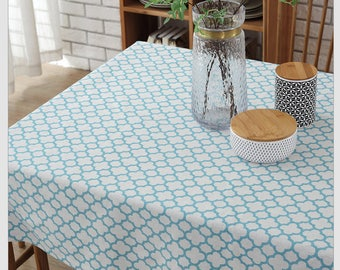 Tablecloth Cotton Linen Blue Moroccan Rectangle Square Round Oval Dining, Coffee,Party,Wedding