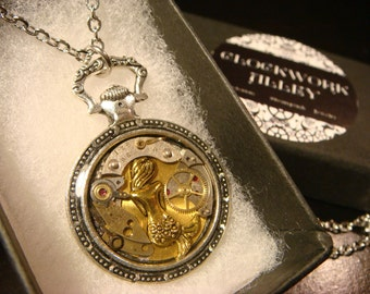 Clockwork Mermaid Steampunk Pocket Watch Pendant Necklace -Made with Real Watch Parts (2368)