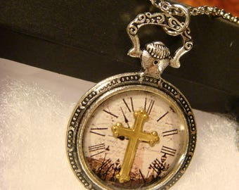 Cross over Clock Pocket Watch Style Pendant Necklace (2416)