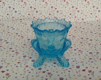 Vintage, Glass, Footed, Trinket Dish, Turquoise/Teal