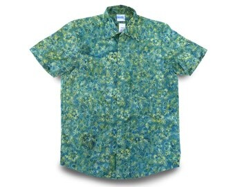 Green Floral Buttondown Shirt, One-of-a-Kind Mens Shirt, Birthday Gift, Mens Green Shirt Handdyed, Shirt One-of-a-Kind