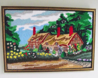 Framed Punch Embroidery , English Cottage Garden Scene in Punchneedle , Vintage Fiber Arts Wall Hanging