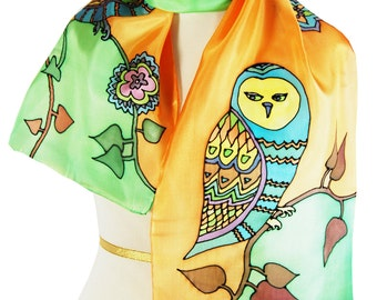 Silk Scarf Sunny Barn Owls Hand Painted Orange Salad Green Barn Owl Illustraton Woodland Owl Nature Inspired Scarf