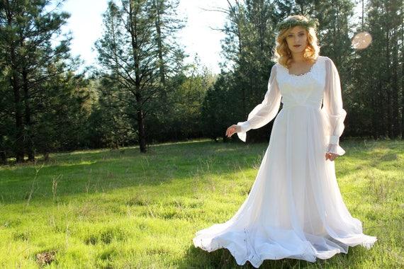 WILDWOOD Vintage 1960's Wedding Gown Chiffon Sleeve Maxi Dress Train Floral Lace Applique Bridal