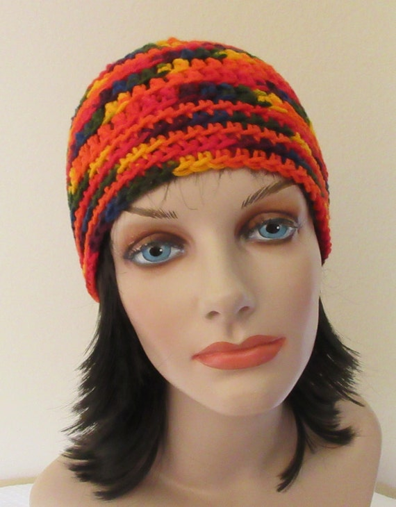 Rainbow Beanie Crochet Primary Color Accessory Cold Weather Hat Hockey Mom Snow Playing Ice Skating