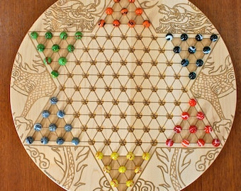 """High Quality  Large Maple Chinese Checkers w 16mm designer Marbles- Dragon Pattern Laser Engraved,  18 5/8"""" Dia x 5/8"""" thick,  Paul Szewc"""