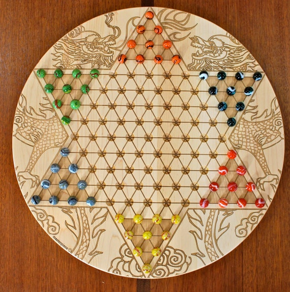 "High Quality Large Chinese Checkers w 16mm designer Marbles-Solid Maple Dragon Pat. Laser Engraved,  18 5/8"" Dia x 5/8"" thick,  Paul Szewc"